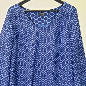 Ann Taylor Blue Long Sleeve Blouse, size L